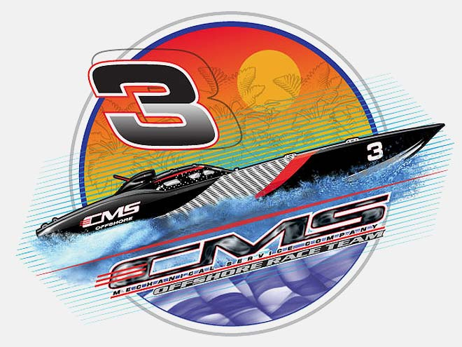 517 Graphics Tampa Fl - T-Shirt Graphic for CMS Racing speed boat racing